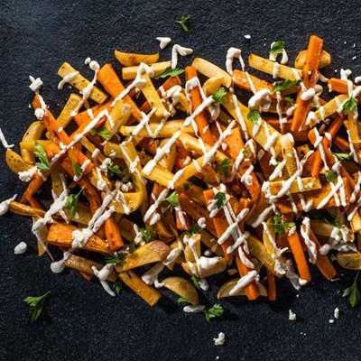 Root veggie Fries with Goat cheese Drizzle