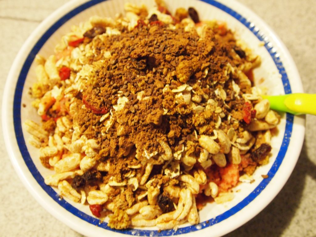Useful pie with dried apricots, cereals and nuts