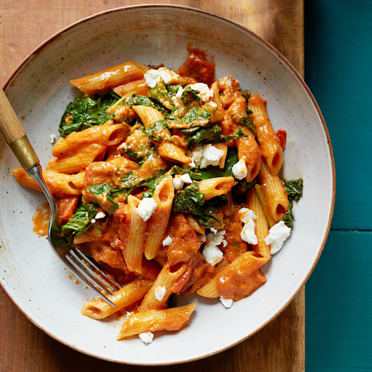 Roasted Red Pepper Goatcheese Penne