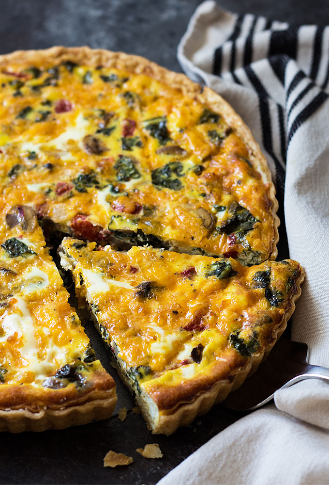 Cheesy red Pepper and Mushroom quiche
