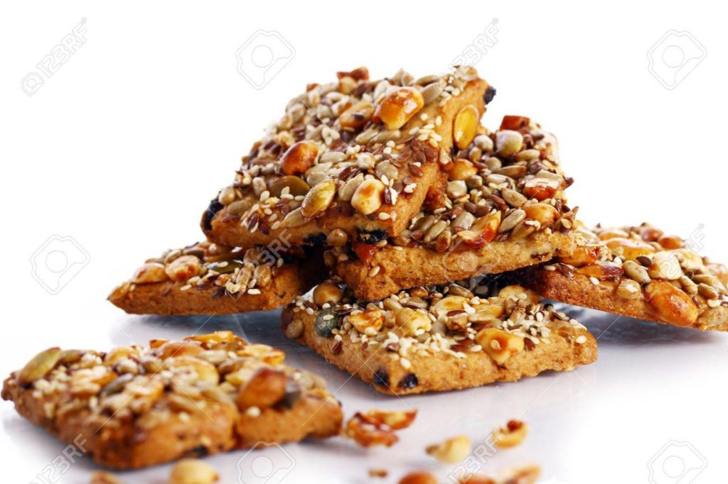 Cookies without baking. Biscuits with seeds, cereals and nuts