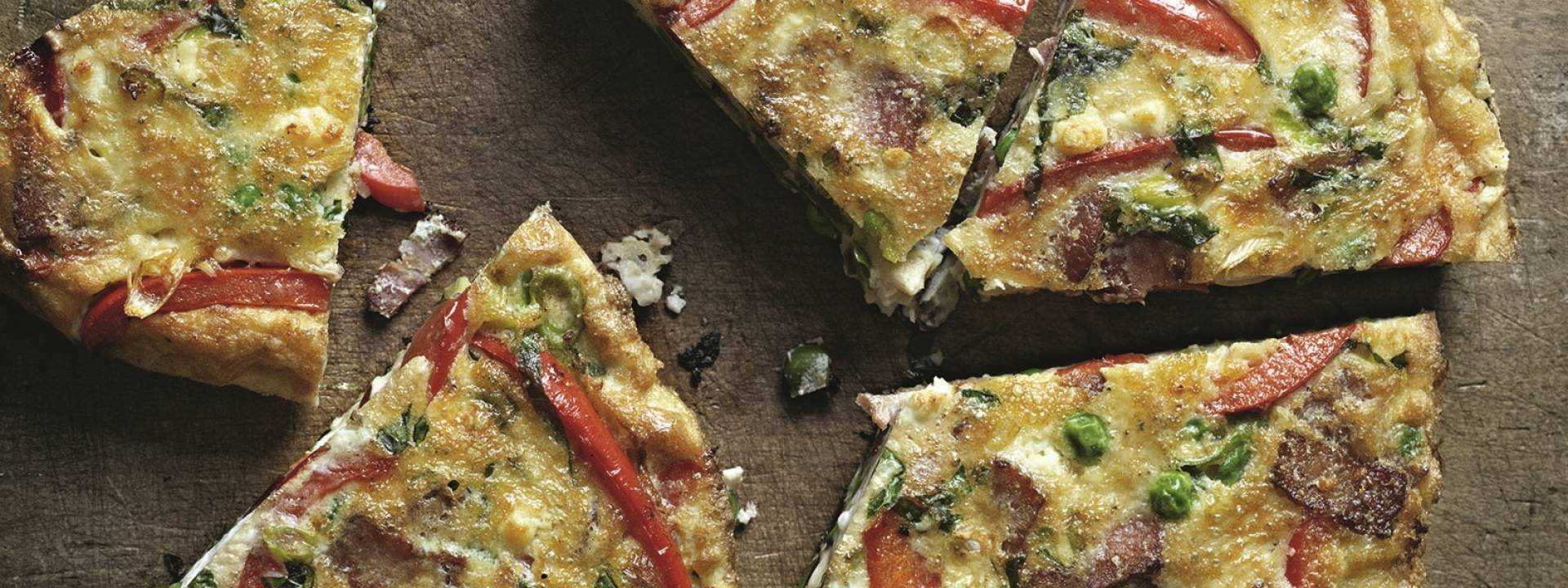 Bacon, Pea and Goat cheese Frittata