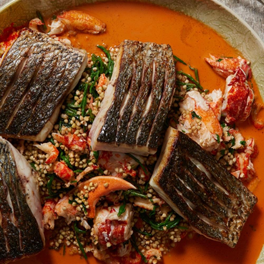 Fish stuffed with buckwheat