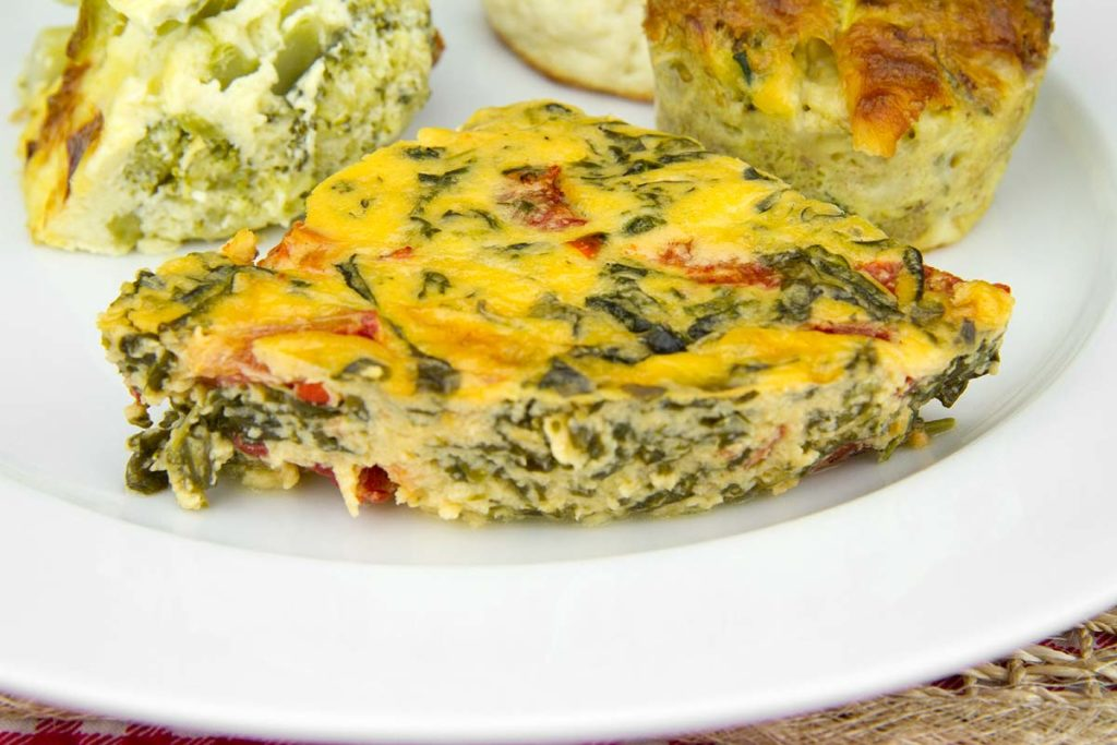 Delicious pudding with spinach