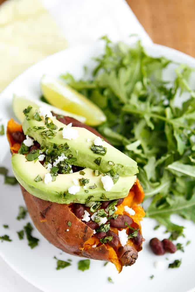 Baked Sweet Potatoes, Avocado and Queso Fresco