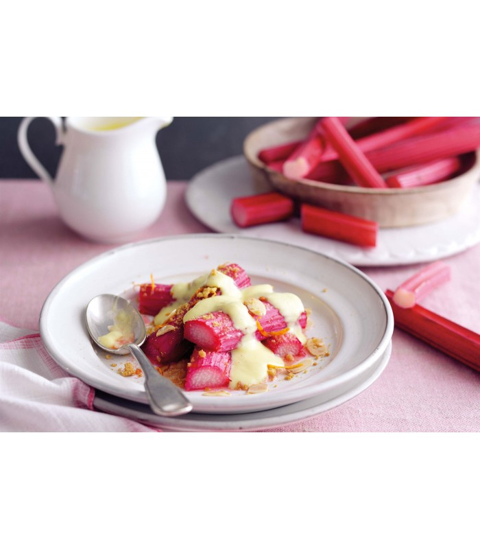 Jamie's Rhubarb and Custard with Crumbly Shortbread