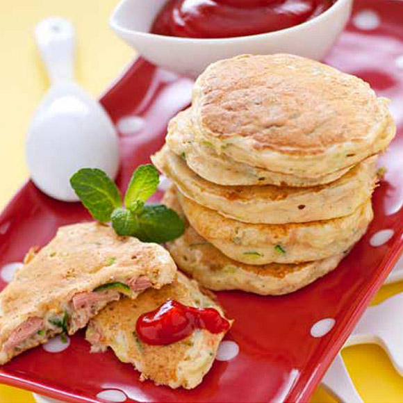 Salted pancakes with tuna and zucchini