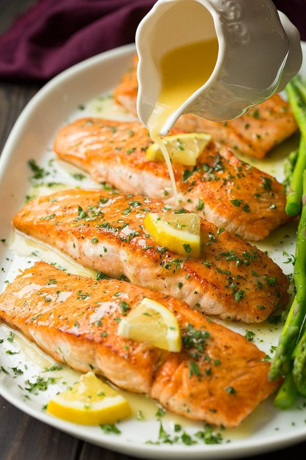 Baked Salmon with Lemon Butter Cream Sauce