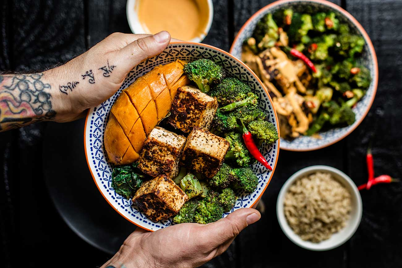 The Whole Bowl: Pan Roasted Tofu, Broccoli Bites and Wilted Spinach