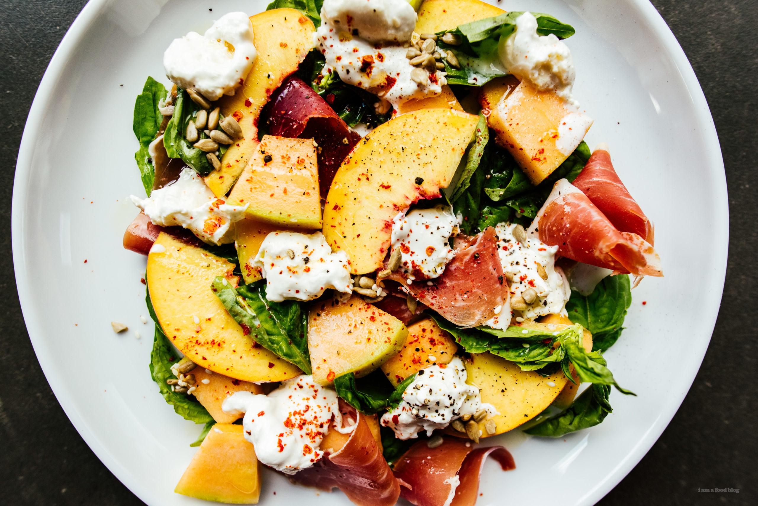Fresh Peach, Basil and Burrata Salad Recipe