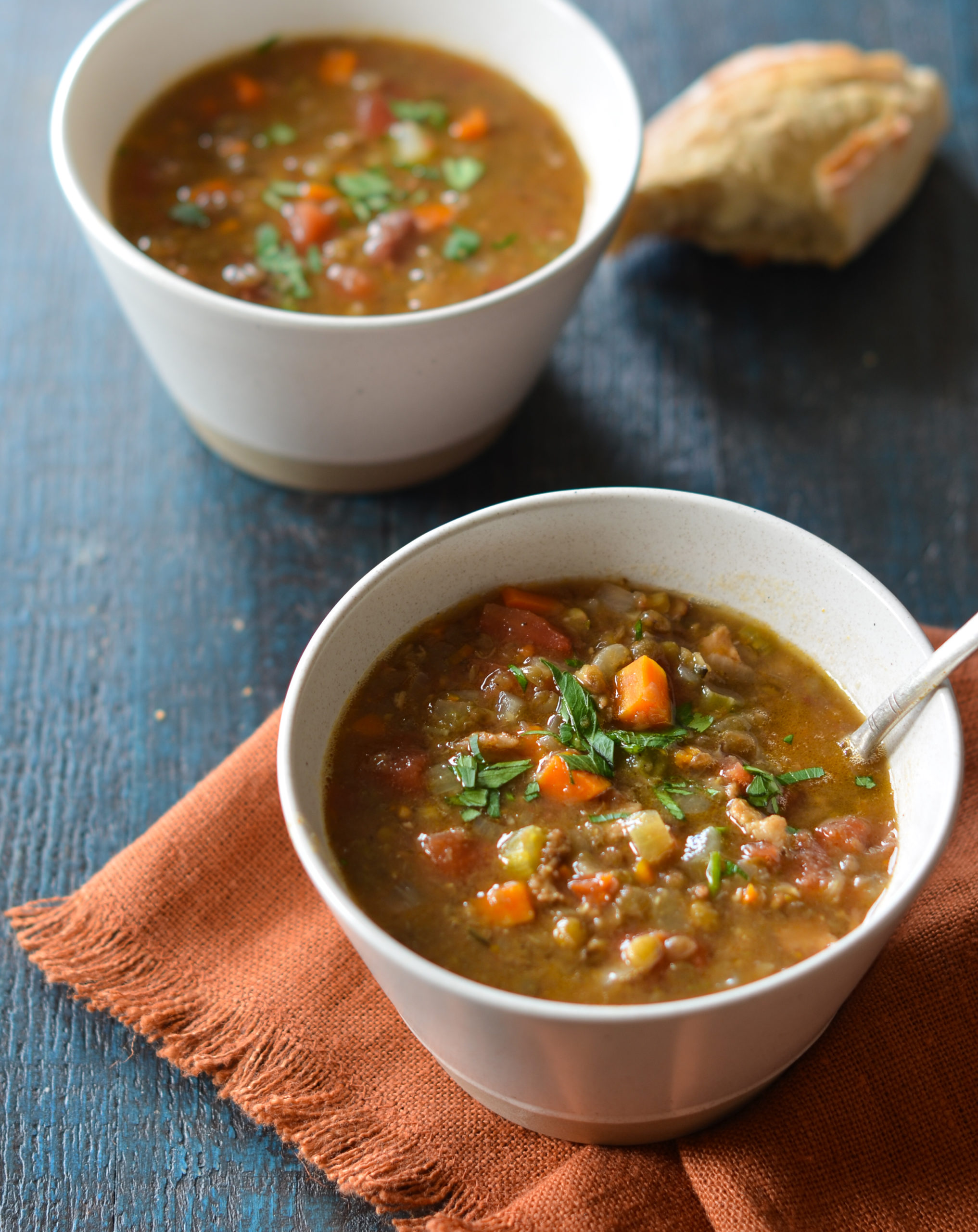 Warm Chicken Lentil Soup
