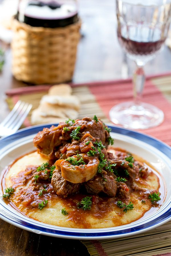 OSSO BUCCO IN RED WINE SALSA WITH SOFT POLENTA