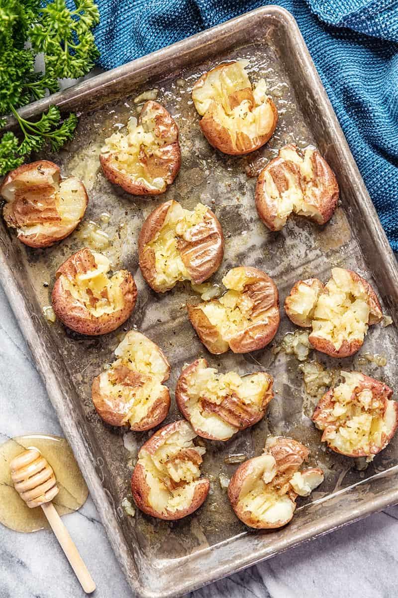 Honey Roasted Smashed Potatoes